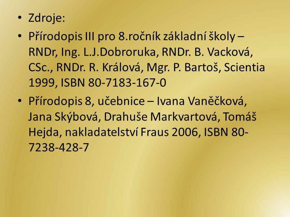 Zdroje: Přírodopis III pro 8.ročník základní školy – RNDr, Ing.
