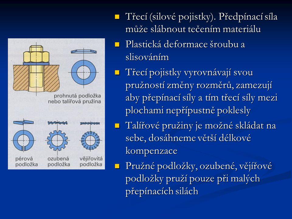 Třecí (silové pojistky). Předpínací síla může slábnout tečením materiálu Plastická deformace šroubu a slisováním Třecí pojistky vyrovnávají svou pružn