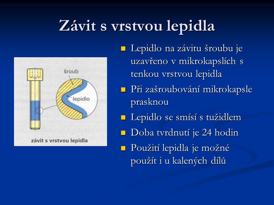 Závit s vrstvou lepidla Lepidlo na závitu šroubu je uzavřeno v mikrokapslích s tenkou vrstvou lepidla Při zašroubování mikrokapsle prasknou Lepidlo se
