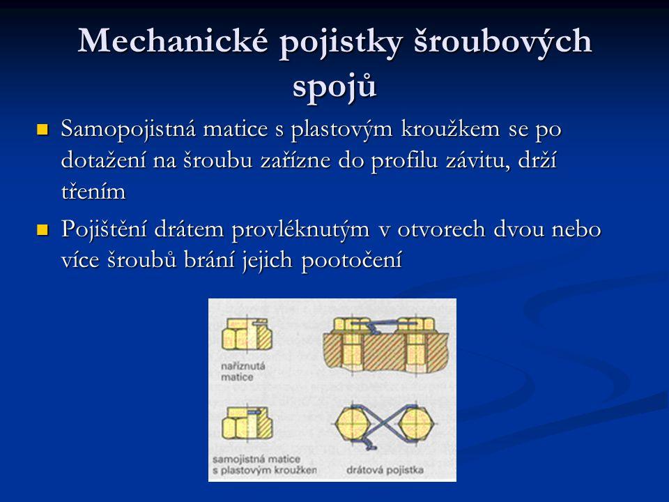 Mechanické pojistky šroubových spojů Samopojistná matice s plastovým kroužkem se po dotažení na šroubu zařízne do profilu závitu, drží třením Pojištění drátem provléknutým v otvorech dvou nebo více šroubů brání jejich pootočení