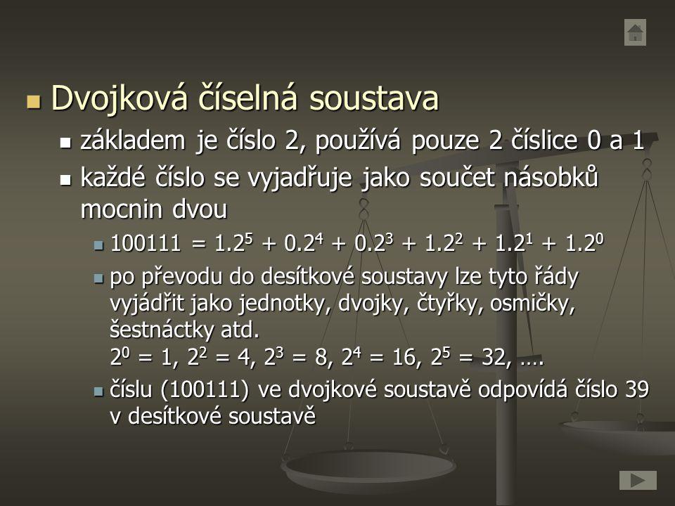Dvojková číselná soustava Dvojková číselná soustava základem je číslo 2, používá pouze 2 číslice 0 a 1 základem je číslo 2, používá pouze 2 číslice 0