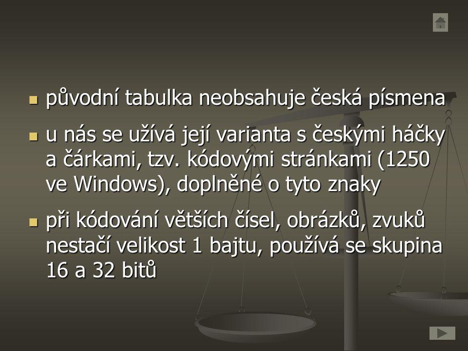 původní tabulka neobsahuje česká písmena původní tabulka neobsahuje česká písmena u nás se užívá její varianta s českými háčky a čárkami, tzv. kódovým