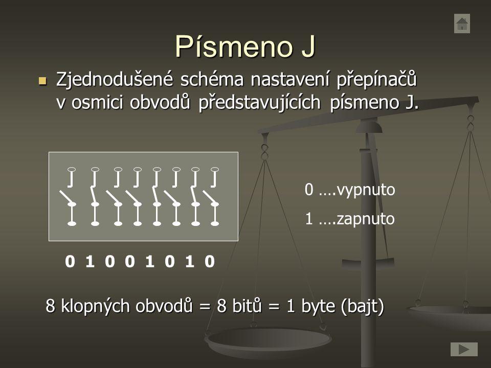 Písmeno J Zjednodušené schéma nastavení přepínačů v osmici obvodů představujících písmeno J. Zjednodušené schéma nastavení přepínačů v osmici obvodů p