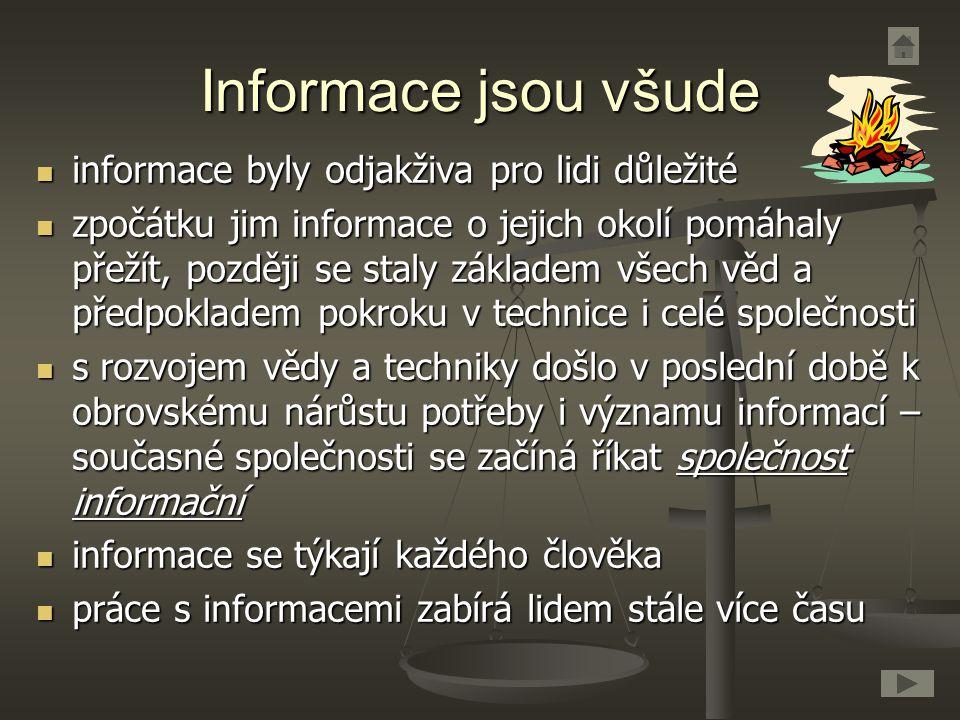 Informace jsou všude informace byly odjakživa pro lidi důležité informace byly odjakživa pro lidi důležité zpočátku jim informace o jejich okolí pomáh