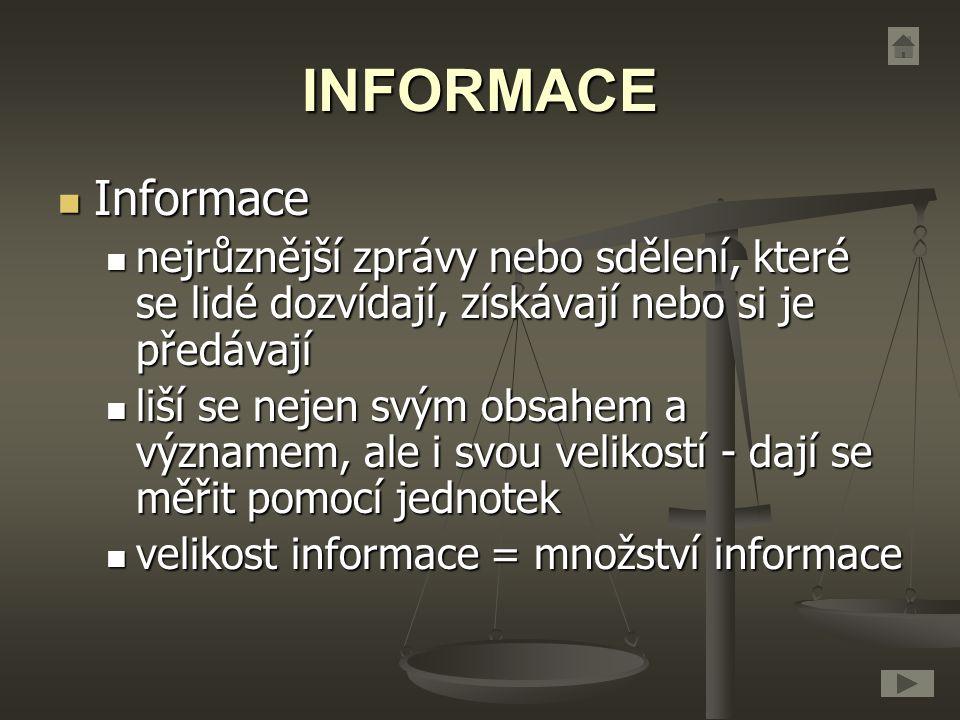 INFORMACE Informace Informace nejrůznější zprávy nebo sdělení, které se lidé dozvídají, získávají nebo si je předávají nejrůznější zprávy nebo sdělení