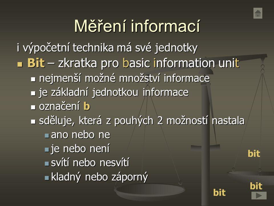 Měření informací i výpočetní technika má své jednotky Bit – zkratka pro basic information unit Bit – zkratka pro basic information unit nejmenší možné