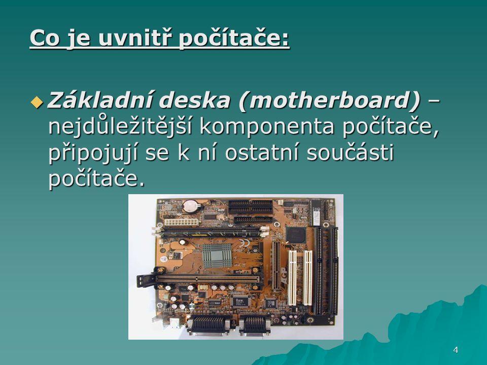 Co je uvnitř počítače:  Základní deska (motherboard) – nejdůležitější komponenta počítače, připojují se k ní ostatní součásti počítače. 4