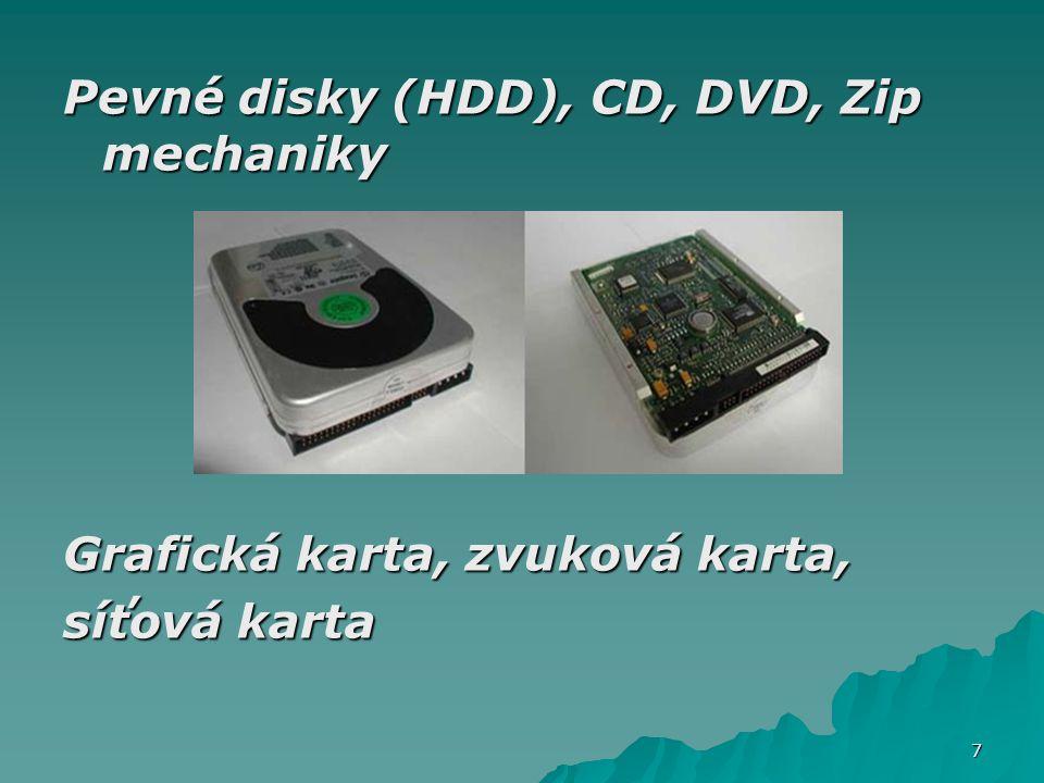 Pevné disky (HDD), CD, DVD, Zip mechaniky Grafická karta, zvuková karta, síťová karta 7