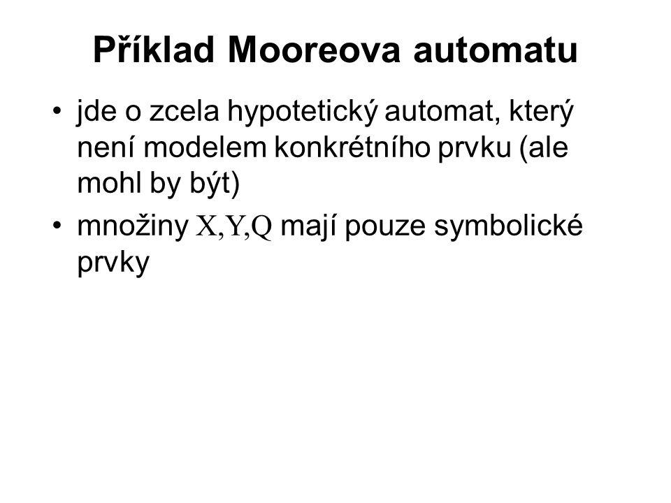 Příklad Mooreova automatu jde o zcela hypotetický automat, který není modelem konkrétního prvku (ale mohl by být) množiny X,Y,Q mají pouze symbolické prvky