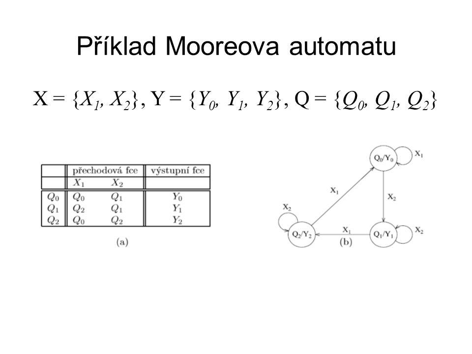 Příklad Mooreova automatu X = {X 1, X 2 }, Y = {Y 0, Y 1, Y 2 }, Q = {Q 0, Q 1, Q 2 }