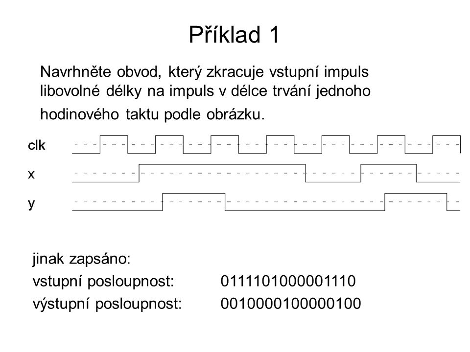Příklad 1 Navrhněte obvod, který zkracuje vstupní impuls libovolné délky na impuls v délce trvání jednoho hodinového taktu podle obrázku. jinak zapsán