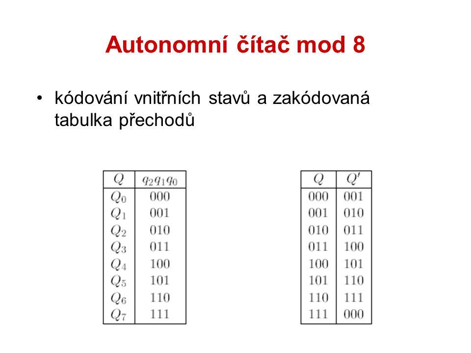 Autonomní čítač mod 8 kódování vnitřních stavů a zakódovaná tabulka přechodů