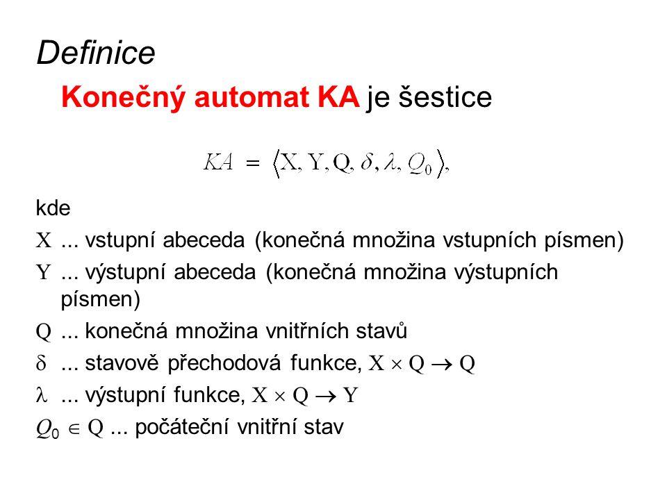 """Poznámky: někdy se automat definuje pouze jako pětice bez počátečního stavu, což není příliš vhodné pro praxi –po uvedení zařízení do chodu (po zapnutí) většinou požadujeme, aby se chovalo vždy stejně, neboli byl definován počáteční stav ve vnitřním stavu si automat """"pamatuje historii vstupních písmen –výstupní funkce určuje výstupní písmeno automatu podle aktuálního vstupu a vnitřního stavu"""