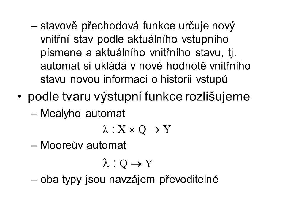 –stavově přechodová funkce určuje nový vnitřní stav podle aktuálního vstupního písmene a aktuálního vnitřního stavu, tj.