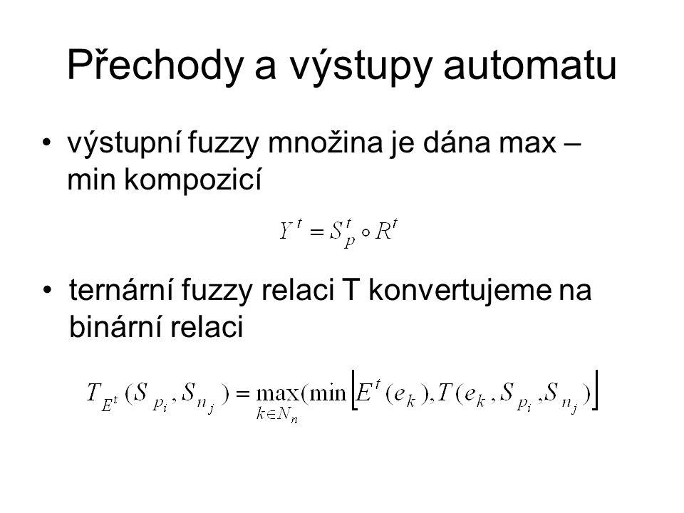 Přechody a výstupy automatu výstupní fuzzy množina je dána max – min kompozicí ternární fuzzy relaci T konvertujeme na binární relaci