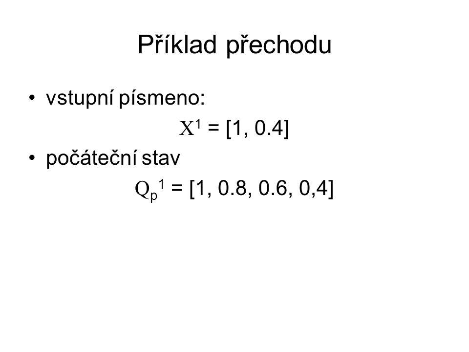 Příklad přechodu vstupní písmeno: X 1 = [1, 0.4] počáteční stav Q p 1 = [1, 0.8, 0.6, 0,4]