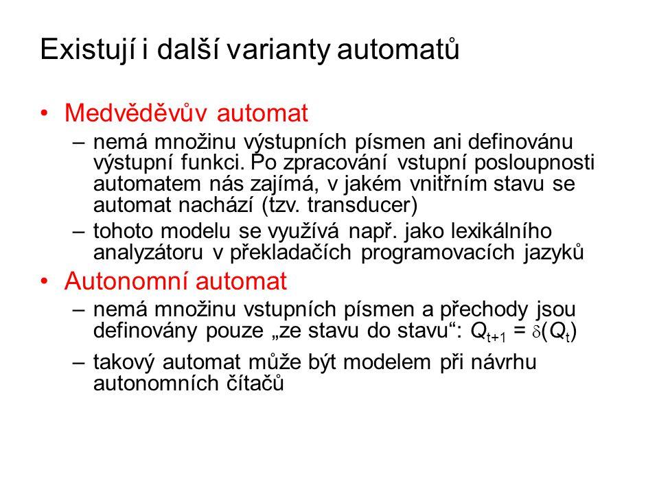 Existují i další varianty automatů Medvěděvův automat –nemá množinu výstupních písmen ani definovánu výstupní funkci. Po zpracování vstupní posloupnos