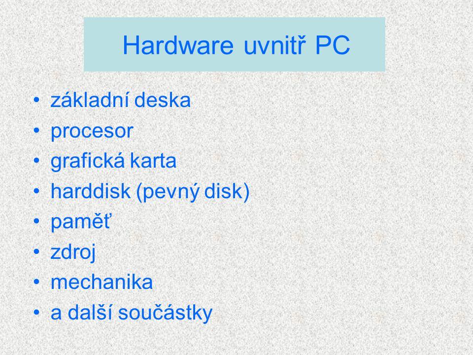 základní deska procesor grafická karta harddisk (pevný disk) paměť zdroj mechanika a další součástky Hardware uvnitř PC