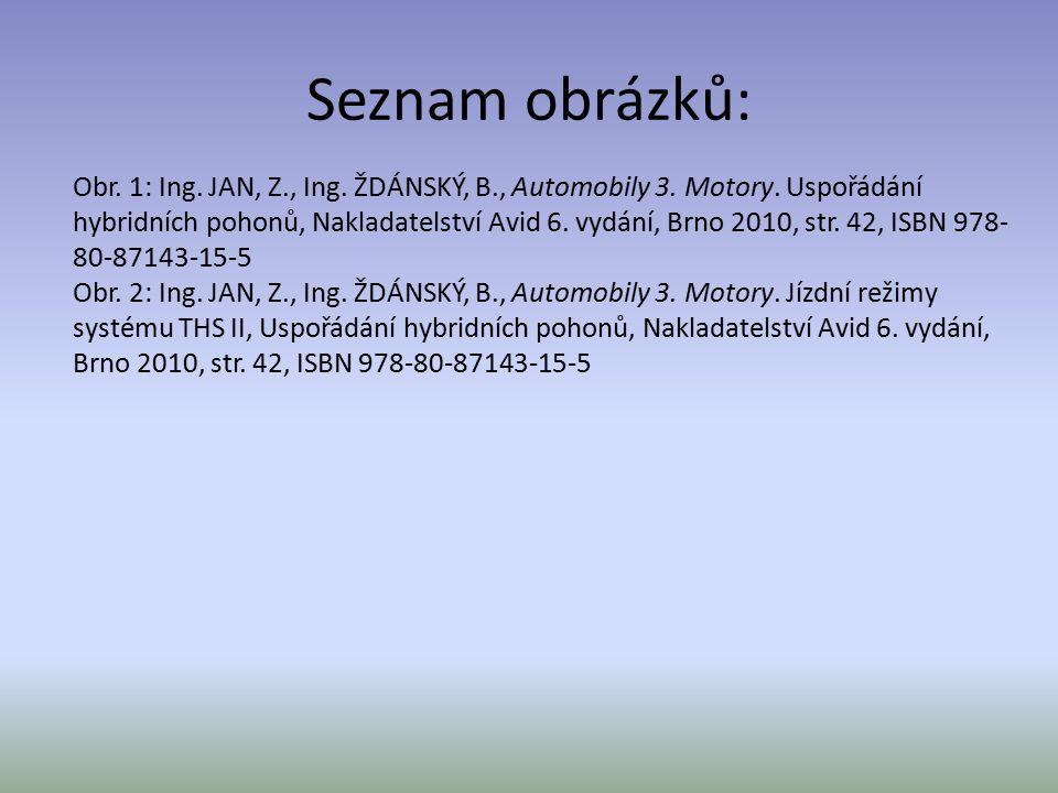 Seznam obrázků: Obr. 1: Ing. JAN, Z., Ing. ŽDÁNSKÝ, B., Automobily 3. Motory. Uspořádání hybridních pohonů, Nakladatelství Avid 6. vydání, Brno 2010,