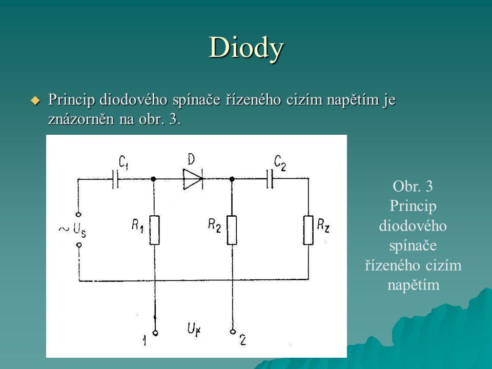 Diody  Princip diodového spínače řízeného cizím napětím je znázorněn na obr.