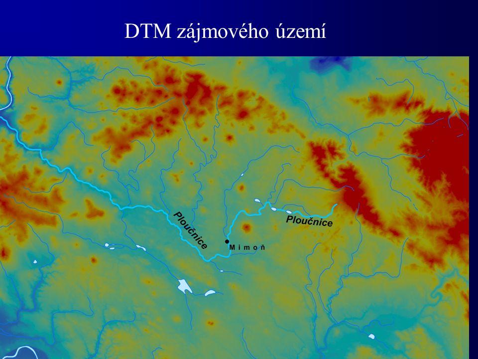Výpočet dílčího povodí funkcí Wathershed Plocha zobrazeného povodí F=53 858 km 2
