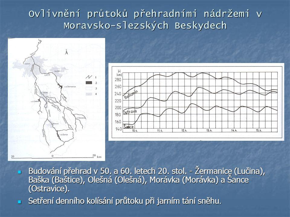 Ovlivnění průtoků přehradními nádržemi v Moravsko-slezských Beskydech Budování přehrad v 50. a 60. letech 20. stol. - Žermanice (Lučina), Baška (Bašti