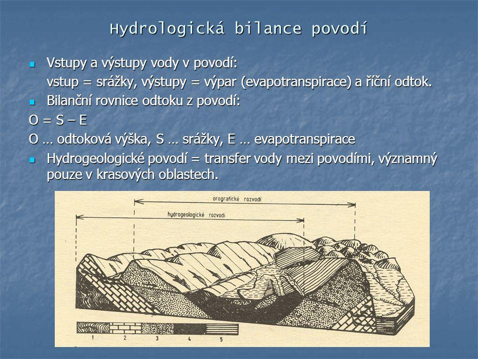 Hydrologická bilance povodí Vstupy a výstupy vody v povodí: Vstupy a výstupy vody v povodí: vstup = srážky, výstupy = výpar (evapotranspirace) a říční