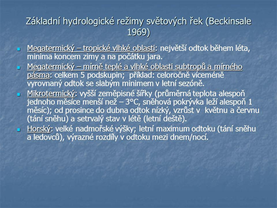 Základní hydrologické režimy světových řek (Beckinsale 1969) Megatermický – tropické vlhké oblasti: Megatermický – tropické vlhké oblasti: největší od