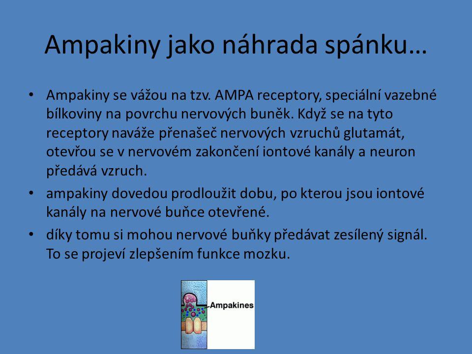 Ampakiny jako náhrada spánku… Ampakiny se vážou na tzv. AMPA receptory, speciální vazebné bílkoviny na povrchu nervových buněk. Když se na tyto recept