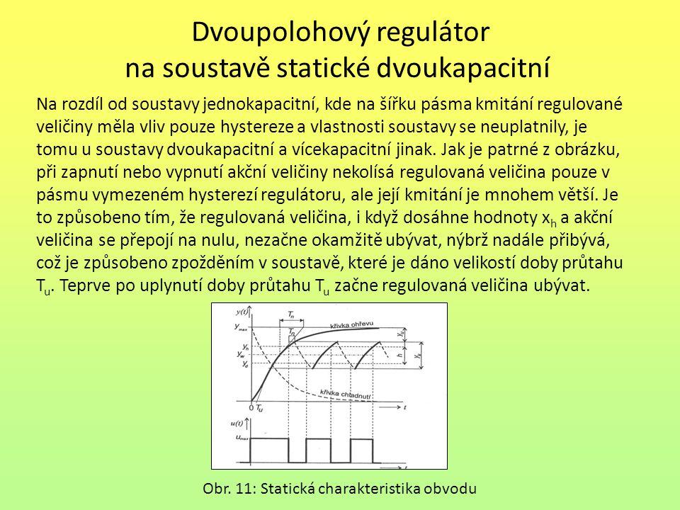 Dvoupolohový regulátor na soustavě statické dvoukapacitní Na rozdíl od soustavy jednokapacitní, kde na šířku pásma kmitání regulované veličiny měla vl