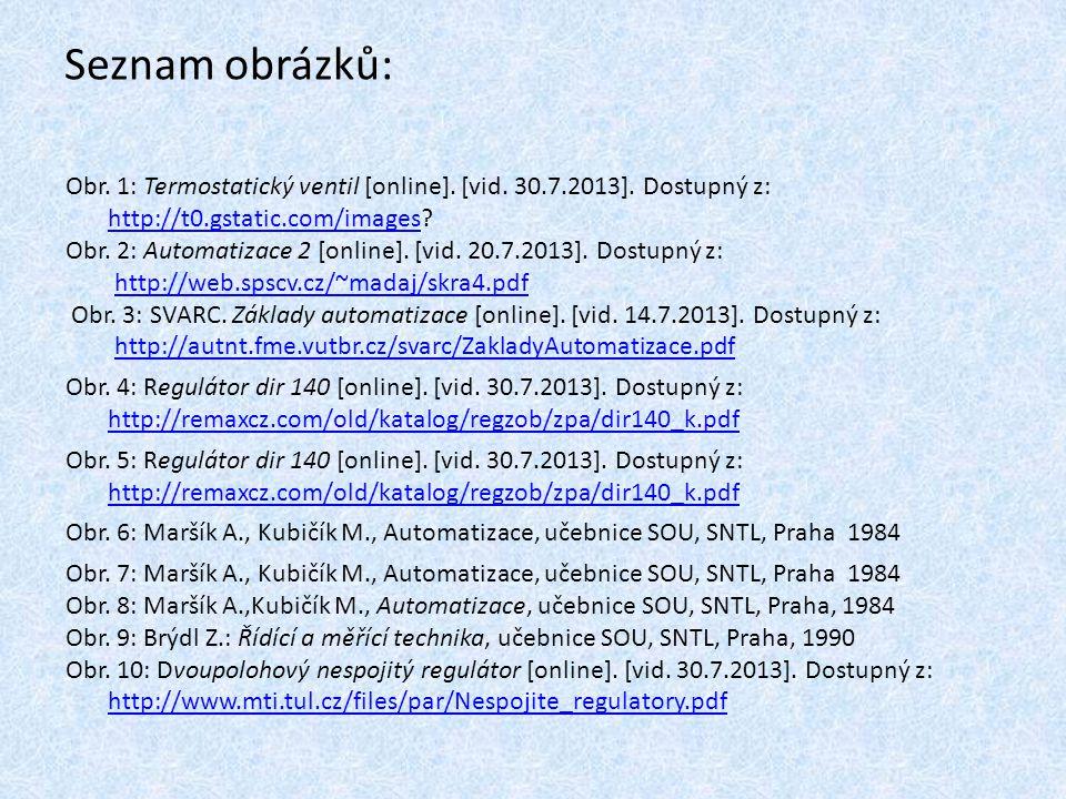 Seznam obrázků: Obr. 1: Termostatický ventil [online]. [vid. 30.7.2013]. Dostupný z: http://t0.gstatic.com/images?http://t0.gstatic.com/images Obr. 2: