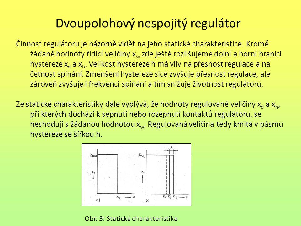 Dvoupolohový nespojitý regulátor Činnost regulátoru je názorně vidět na jeho statické charakteristice. Kromě žádané hodnoty řídící veličiny x w zde je