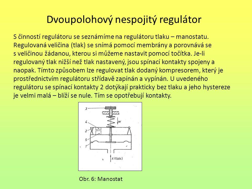 Dvoupolohový nespojitý regulátor S činností regulátoru se seznámíme na regulátoru tlaku – manostatu. Regulovaná veličina (tlak) se snímá pomocí membrá
