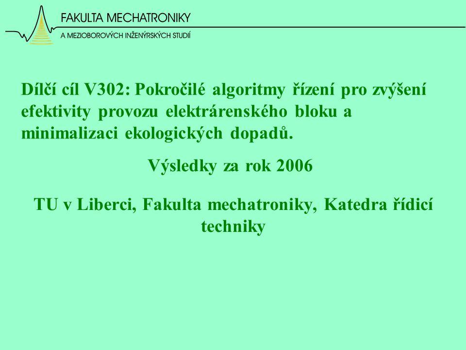 TU v Liberci, Fakulta mechatroniky, Katedra řídicí techniky Dílčí cíl V302: Pokročilé algoritmy řízení pro zvýšení efektivity provozu elektrárenského bloku a minimalizaci ekologických dopadů.