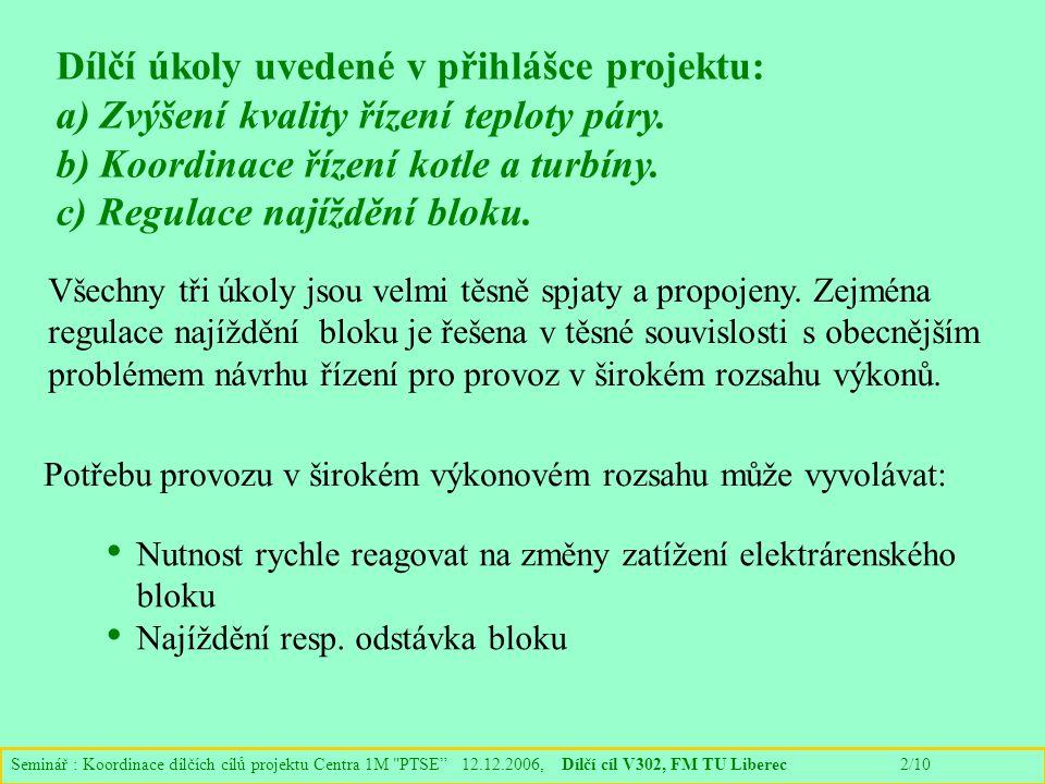 Seminář : Koordinace dílčích cílů projektu Centra 1M PTSE 12.12.2006, Dílčí cíl V302, FM TU Liberec 2/10 Dílčí úkoly uvedené v přihlášce projektu: a) Zvýšení kvality řízení teploty páry.