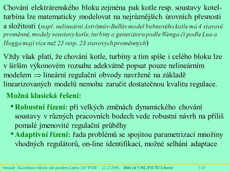 Seminář : Koordinace dílčích cílů projektu Centra 1M PTSE 12.12.2006, Dílčí cíl V302, FM TU Liberec 3/10 Chování elektrárenského bloku zejména pak kotle resp.
