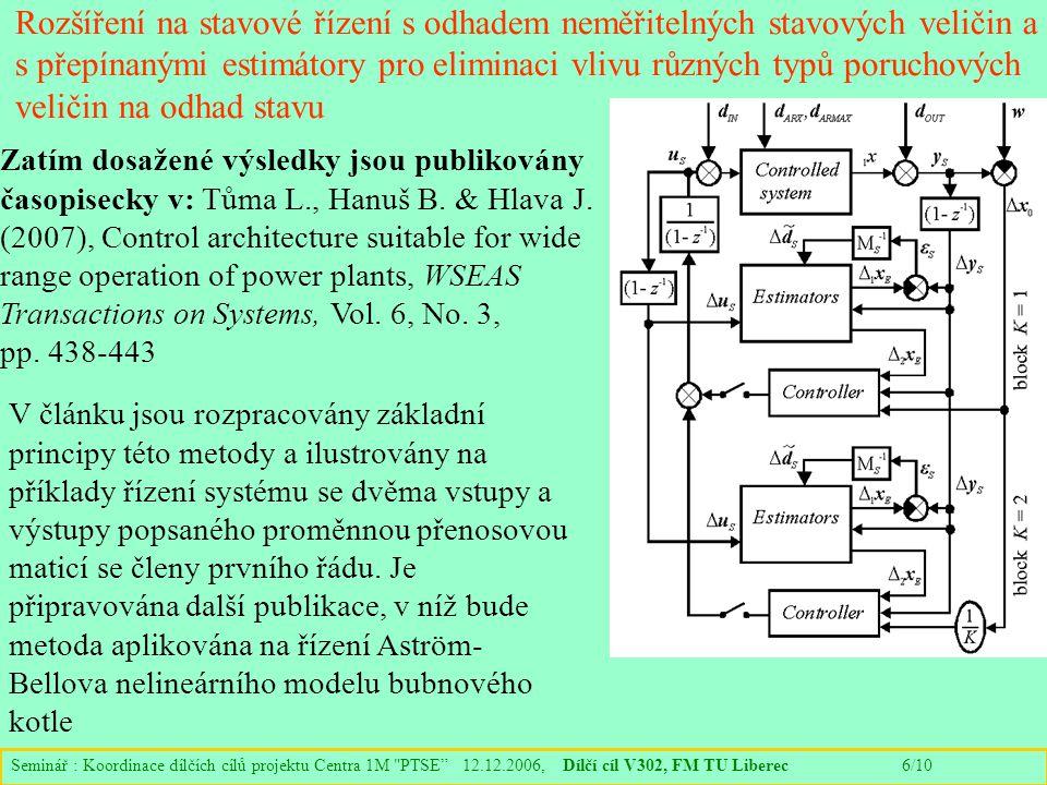 Seminář : Koordinace dílčích cílů projektu Centra 1M PTSE 12.12.2006, Dílčí cíl V302, FM TU Liberec 6/10 Rozšíření na stavové řízení s odhadem neměřitelných stavových veličin a s přepínanými estimátory pro eliminaci vlivu různých typů poruchových veličin na odhad stavu Zatím dosažené výsledky jsou publikovány časopisecky v: Tůma L., Hanuš B.