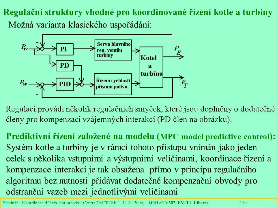 Seminář : Koordinace dílčích cílů projektu Centra 1M PTSE 12.12.2006, Dílčí cíl V302, FM TU Liberec 7/10 Regulační struktury vhodné pro koordinované řízení kotle a turbíny Regulaci provádí několik regulačních smyček, které jsou doplněny o dodatečné členy pro kompenzaci vzájemných interakcí (PD člen na obrázku).