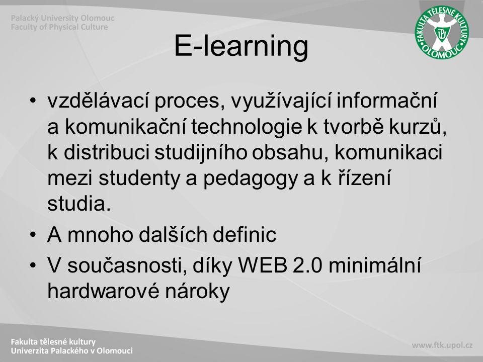 E-learning vzdělávací proces, využívající informační a komunikační technologie k tvorbě kurzů, k distribuci studijního obsahu, komunikaci mezi studenty a pedagogy a k řízení studia.