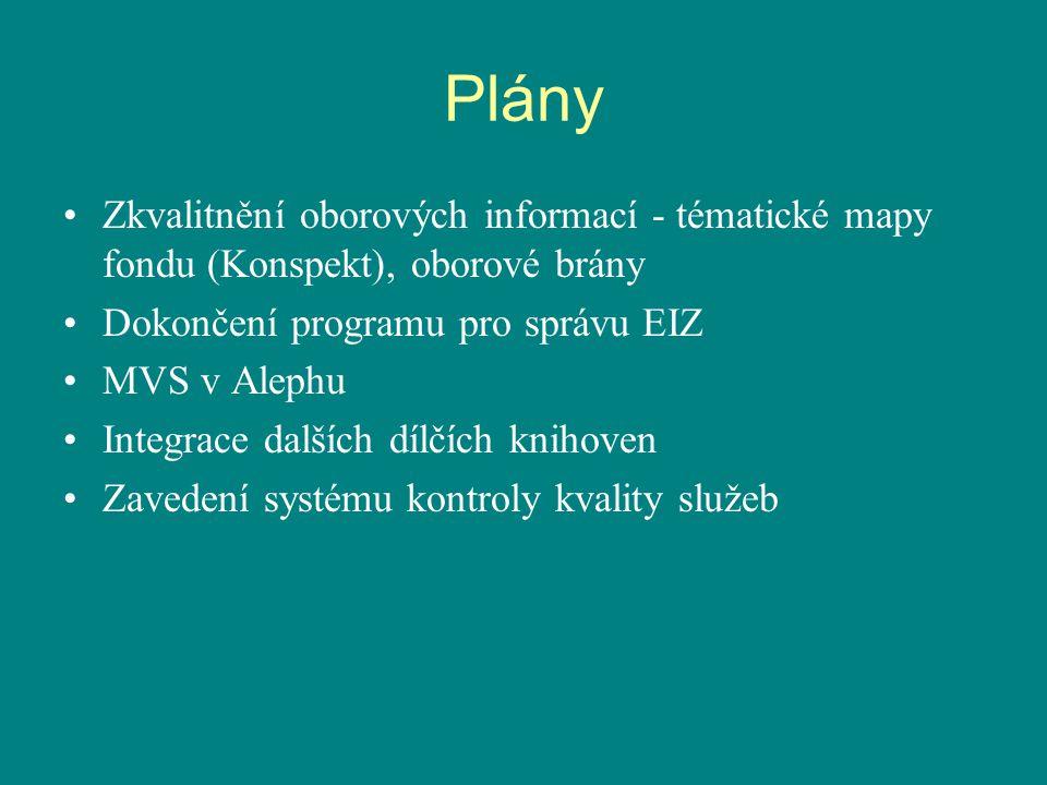 Plány Zkvalitnění oborových informací - tématické mapy fondu (Konspekt), oborové brány Dokončení programu pro správu EIZ MVS v Alephu Integrace dalších dílčích knihoven Zavedení systému kontroly kvality služeb