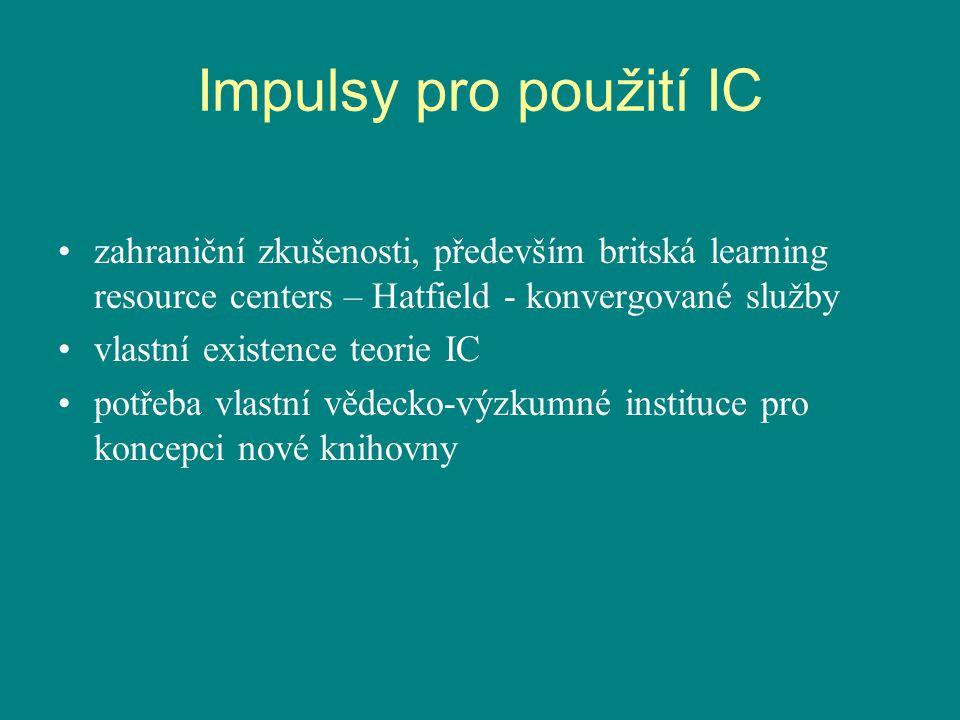 Impulsy pro použití IC zahraniční zkušenosti, především britská learning resource centers – Hatfield - konvergované služby vlastní existence teorie IC