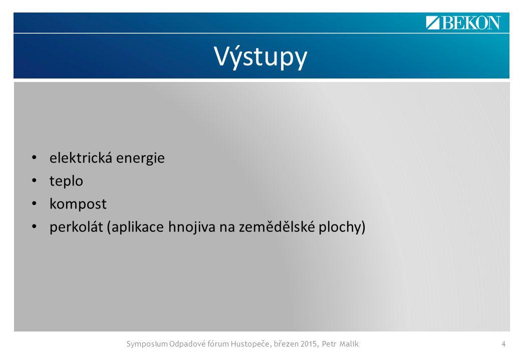 Výstupy Symposium Odpadové fórum Hustopeče, březen 2015, Petr Malik4 elektrická energie teplo kompost perkolát (aplikace hnojiva na zemědělské plochy)