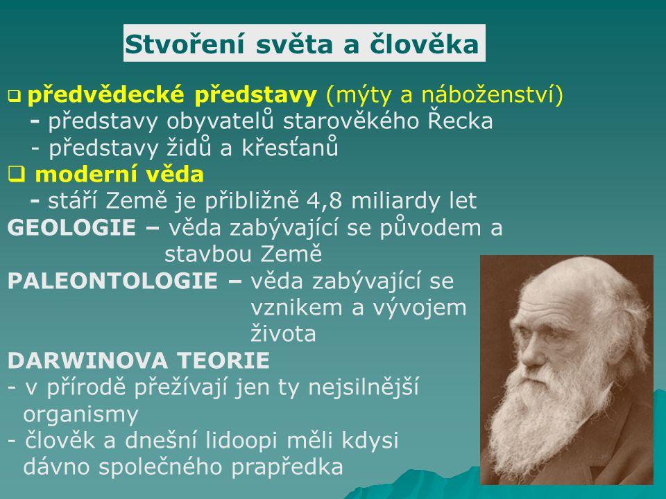 Stvoření světa a člověka  předvědecké představy (mýty a náboženství) - představy obyvatelů starověkého Řecka - představy židů a křesťanů  moderní věda - stáří Země je přibližně 4,8 miliardy let GEOLOGIE – věda zabývající se původem a stavbou Země PALEONTOLOGIE – věda zabývající se vznikem a vývojem života DARWINOVA TEORIE - v přírodě přežívají jen ty nejsilnější organismy - člověk a dnešní lidoopi měli kdysi dávno společného prapředka