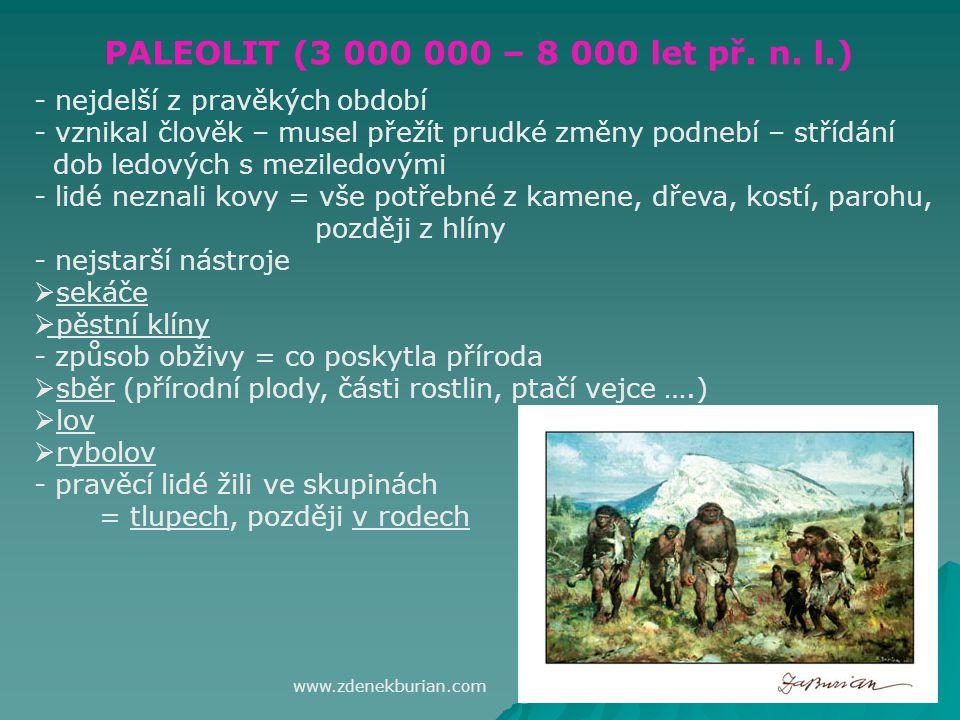 PALEOLIT (3 000 000 – 8 000 let př.n.