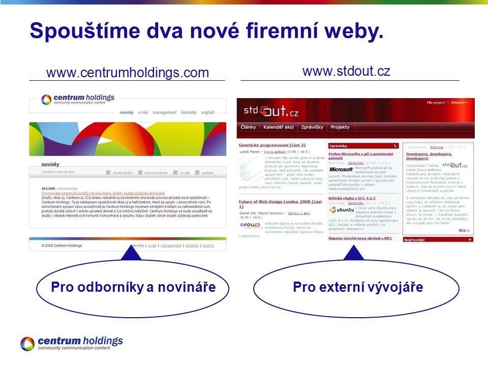 Spouštíme dva nové firemní weby.