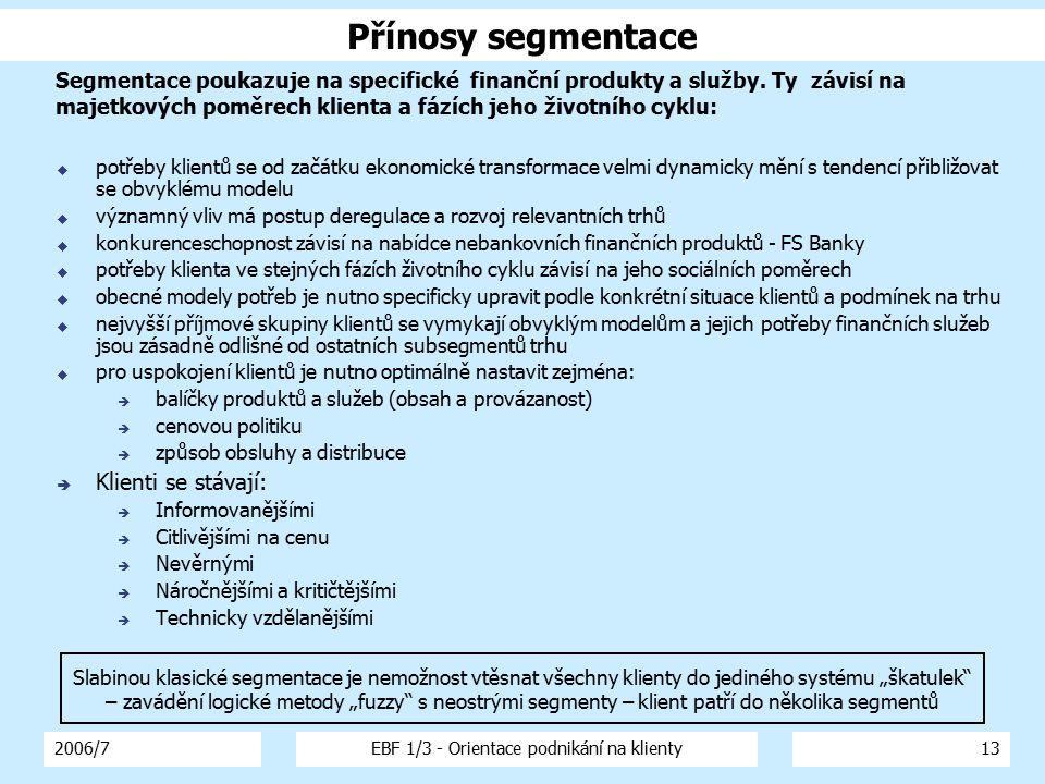 2006/7EBF 1/3 - Orientace podnikání na klienty13  potřeby klientů se od začátku ekonomické transformace velmi dynamicky mění s tendencí přibližovat s