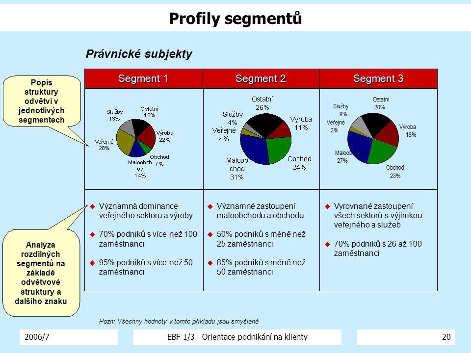 2006/7EBF 1/3 - Orientace podnikání na klienty20 Výroba 18% Obchod 23% Maloobcho 27% Služby 9% Ostatní 20% Veřejné 3% Segment 1 Segment 2 Segment 3 