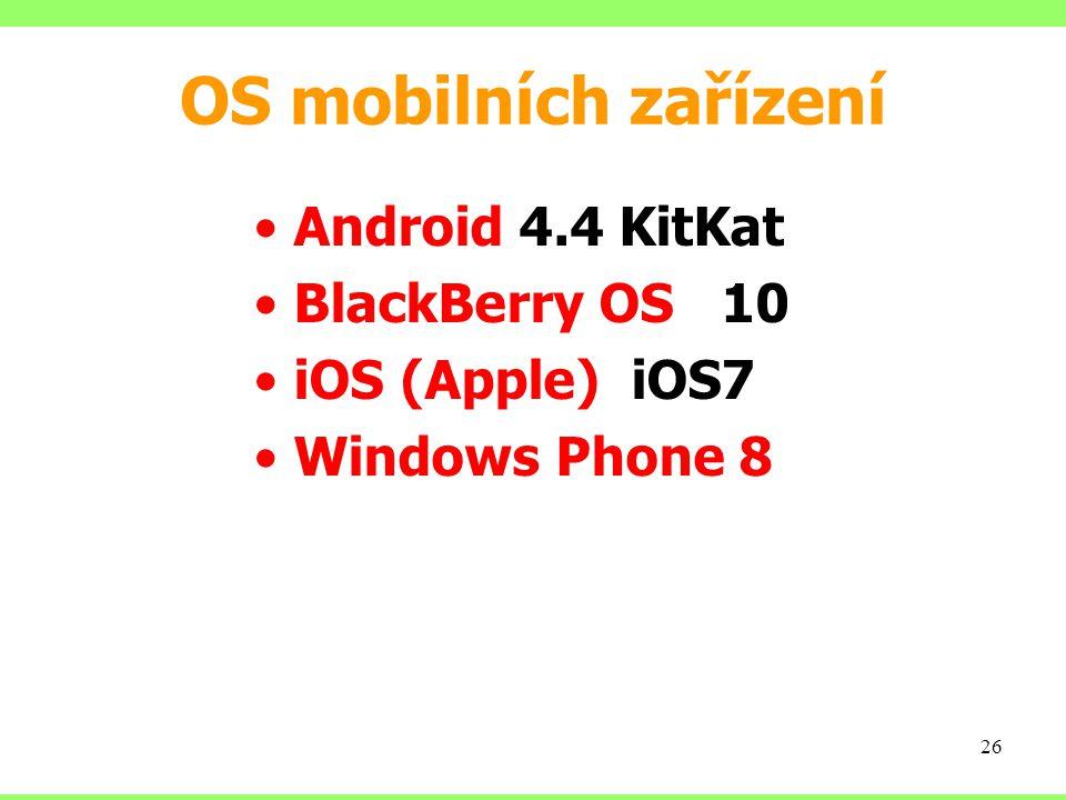OS mobilních zařízení Android 4.4 KitKat BlackBerry OS 10 iOS (Apple) iOS7 Windows Phone 8 26
