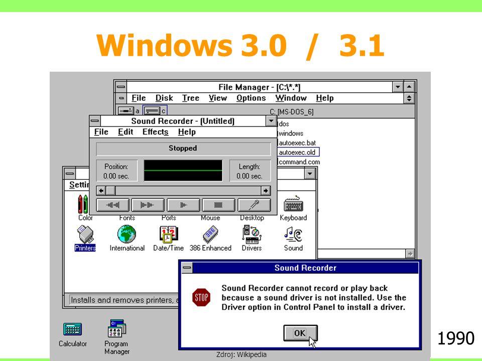 Windows 3.0 / 3.1 1990 Zdroj: Wikipedia