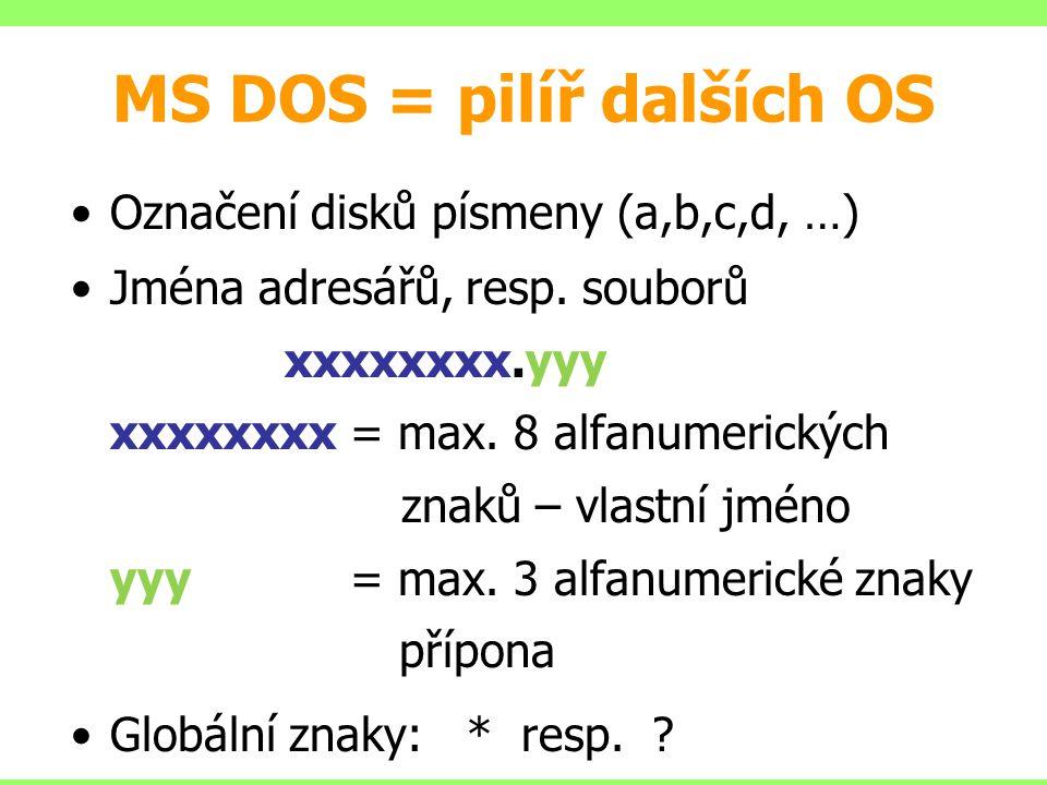 MS DOS = pilíř dalších OS Označení disků písmeny (a,b,c,d, …) Jména adresářů, resp. souborů xxxxxxxx.yyy xxxxxxxx = max. 8 alfanumerických znaků – vla